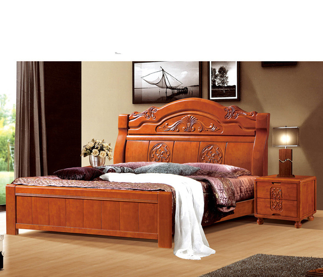 Guangdong Chinese Style Handmade Carved Solid Wood Bedroom Furniture