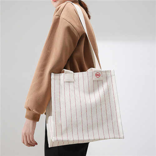 Women Shoulder Bag 2019 Casual Large Capacity Simple Canvas Shopping Bag Fashion Striped Women Beach Handbag