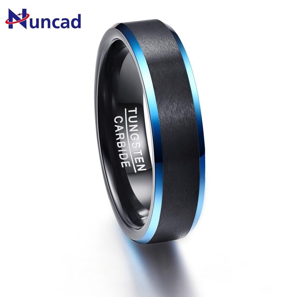 Black Matte Surface Blue Edge Promise Band Men Rings Tire 100% Tungsten Carbide Multi-size Anillos para hombres Pierscienie