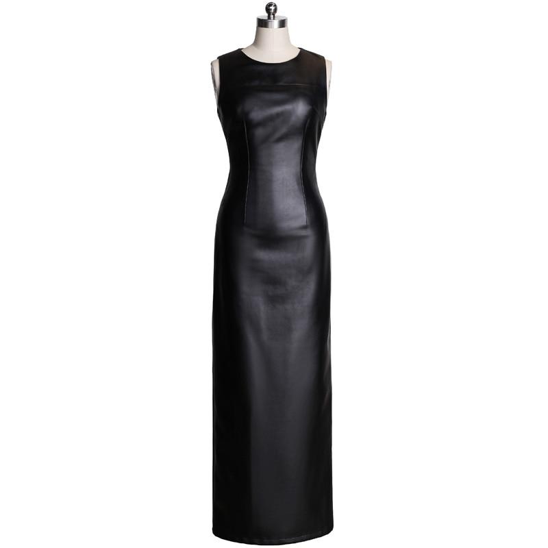 Customize 2017 New Womens Autumn Spring Split Black Faux Leather Dress Vestidos Ankle-Length Plus Size Elegant Sexy Dresses