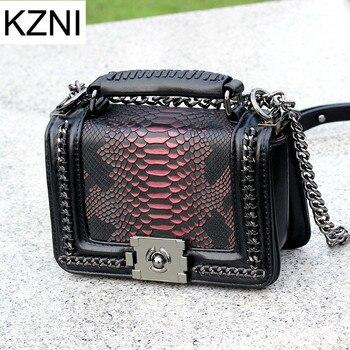 KZNI Real Leather Crossbody Chain Bag Serpentine Handbag Women Messenger Bags Female Genuine Leather Bolsa Feminina 9159-19