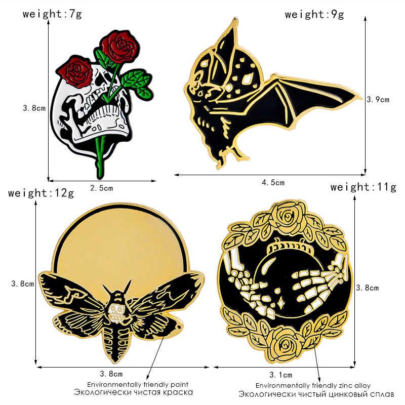 QIHE ювелирные изделия летучая пчела роза череп рука с хрустальным шаром Скелет булавка брошь Нагрудный значок покрытый эмалью рюкзак джинсы Панк булавки коллекция