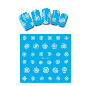 Nail Sticker WATER DECAL BLUE BASE FLOWER CHRISTMAS XMAS WHITE SNOW FLAKE NEW YEAR RU242-247