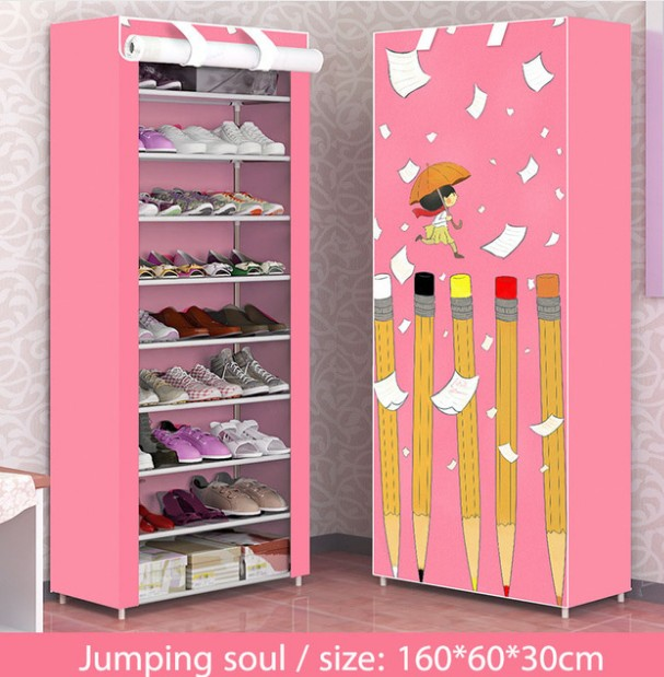 Shoe cabinet 10-layer 9-grid Non-woven fabric Metal 160x60x30cm Shoe rack organizer removable shoe storage home furniture C118 single row 9 grid shoe cabinet non woven fabric organizer storage cabinet assembly shelf shoe rack home living room furnitu
