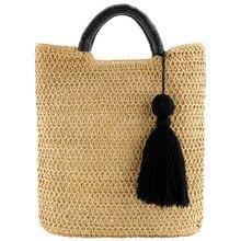 แฟชั่น Tassels hand woven straw bag กระเป๋าชายหาดทอกระเป๋า,กระเป๋าถือ