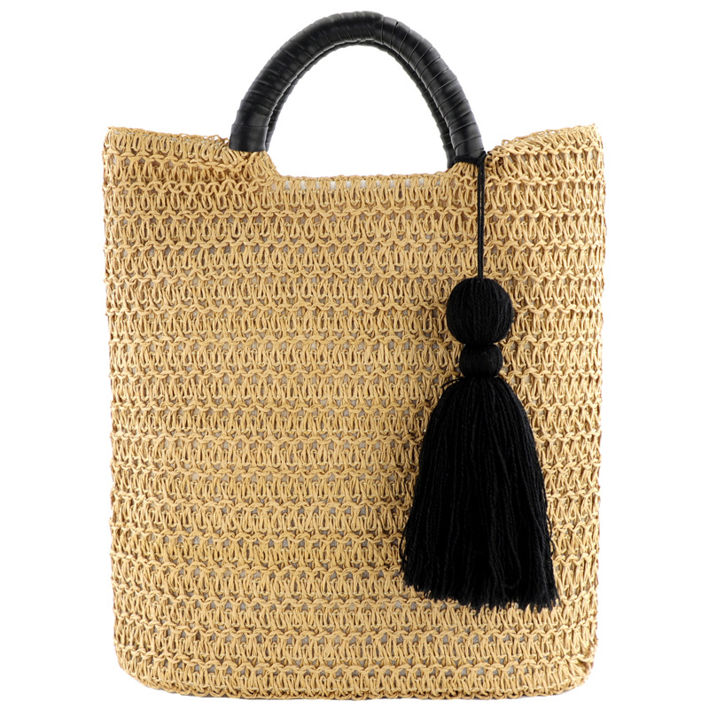 Fashion Tassels Hand-woven Straw Bag Beach Woven Bag, Casual Handbag