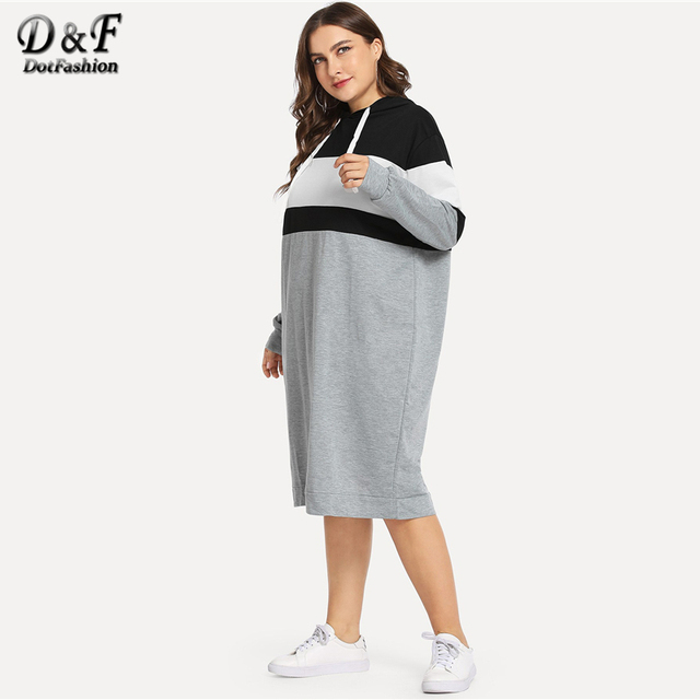 Dotfashion Plus Size Colorblock Drawstring Hooded Sweatshirt Dresses Womens Autumn 2019 Clothing Long Sleeve Knee Length Dress 2