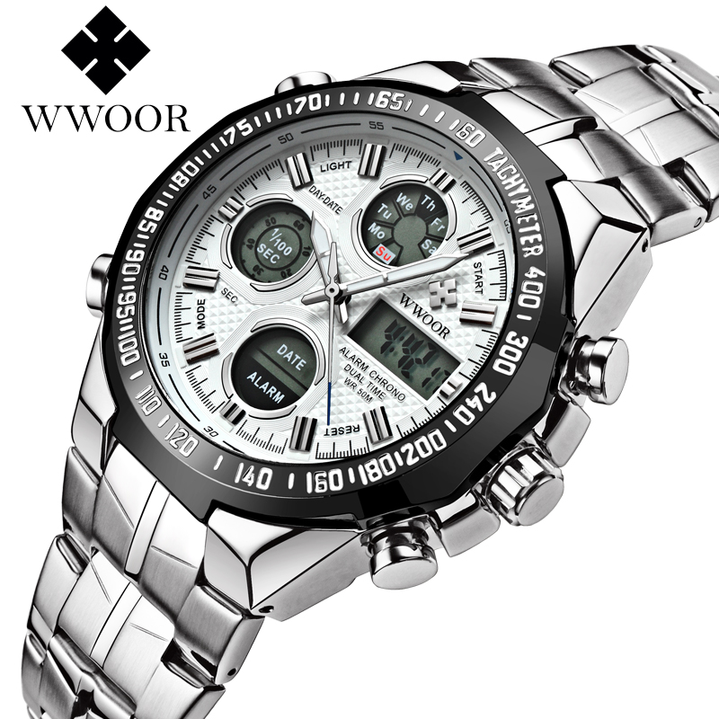 WWOOR Mens Watches Top Brand Luxury Stainless Steel Digital Display Quartz Watch Men Fashion Sport Wristwatch Relogio Masculino aidis brand dual display wristwatch sport men s waterproof digital watch stainless steel fashion quartz clock relogio masculino