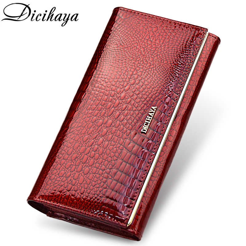 DICIHAYA Genuine Leather Women Wallets Multifunction Purse Red Card Hol
