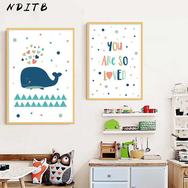 الكرتون الحوت الحضانة قماش المشارك طباعة الحد الأدنى جدار الفن اللوحة الشمال الاطفال الديكور الصور الطفل بنين ديكور غرفة نوم