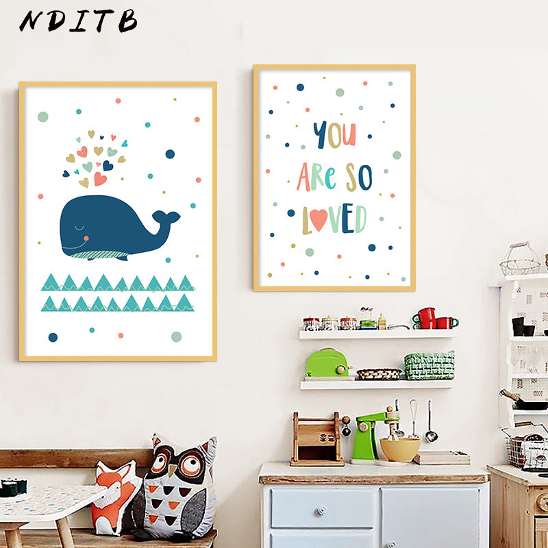 Cartoon Whale Nursery Canvas Poster Print Minimalist Wall Art Painting Nordic Kids Decoration Pictures Baby Boys Bedroom Decor