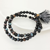 Natural Black Agates Bracelets Tassel Handmade Knotted Ceramics Bead Lucky Bracelet Bangle For Women Men Gift DIY Jewelry 9316