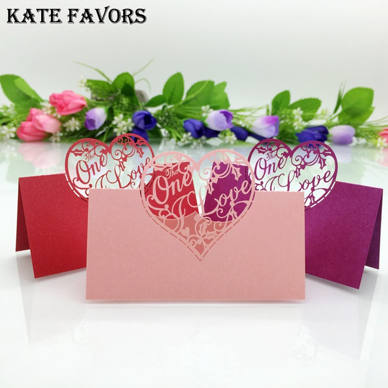 5 Colors 50pcs Heart Shaped Laser Cut Table Name Place Cards Guest Visiting Card for Wedding Birthday Party Favor Supplies