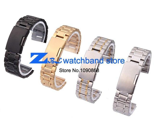 Вообще плоским интерфейс из нержавеющей стали Watchband металлические наручные часы группа золото серебро черный часы ширина ленты 18 мм 20 мм 22 мм 24 мм