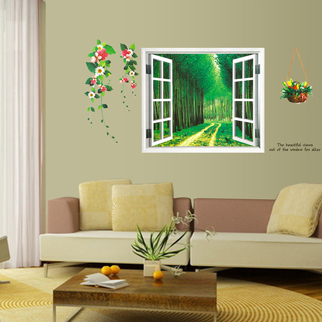removable green forest 3d window glass scenery wall sticker home