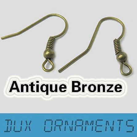 1000 шт/7 USD серебряный Французский проволочный сережки крючки Обычная Катушка ушной проволоки серьги ювелирный разъем - Цвет: antique bronze