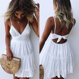 LOSSKY Summer Women Lace Sexy Beach Dresses 2018 Casual