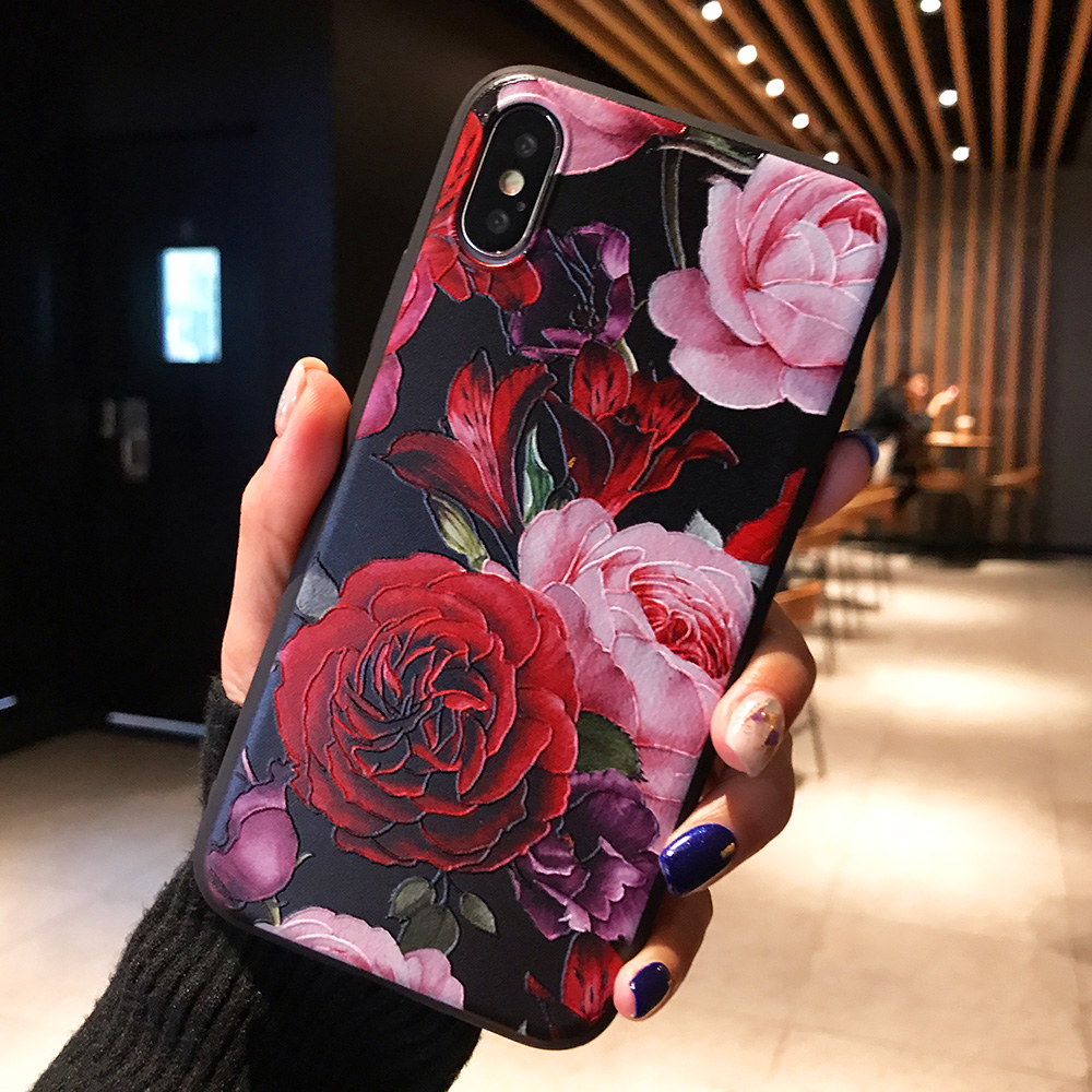 KIPX1071A_1_JONSNOW 3D Flower Emboss Case for iPhone 6 6S 7 8 Plus Painted Phone Cover for iPhone X XR XS Max Soft Cases