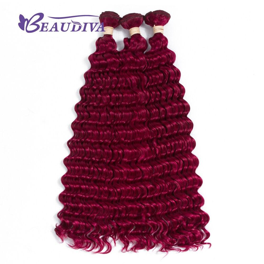Beau Diva 118 # бразильский глубокий вьющиеся волосы волна 100% человеческих Синтетические волосы соткут 3 Связки Бесплатная доставка