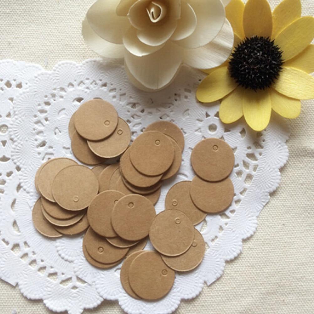 100 Pcs DIY Round Head Label Luggage Kraft Paper Tags Brown Wedding Note Blank Price Tag Hang Tag Kraft Gift