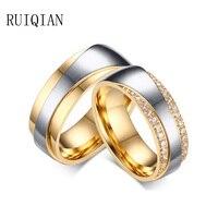 Erkekler takı altın titanium çelik yüzük 1 çift vintage alyans kadınlar taşlı anillos anel masculino ruier405