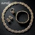 OUMEILY Женщины Новая Мода Ювелирные Наборы Африканские Бусы Позолоченный Свадебный Ожерелье Браслет Серьги Кольца Свадебные Аксессуары