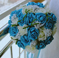 Cheap Korean bride holding flowers artificial flowers wedding bouquet of blue flowers groom the original skin color  not fade