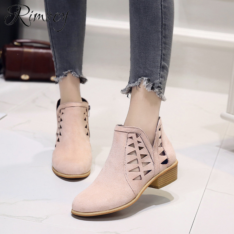 Rimocy 2019 spring hollow out single shoes woman faux suede round toe square heels pumps women 4cm med heels casual shoes femme 25