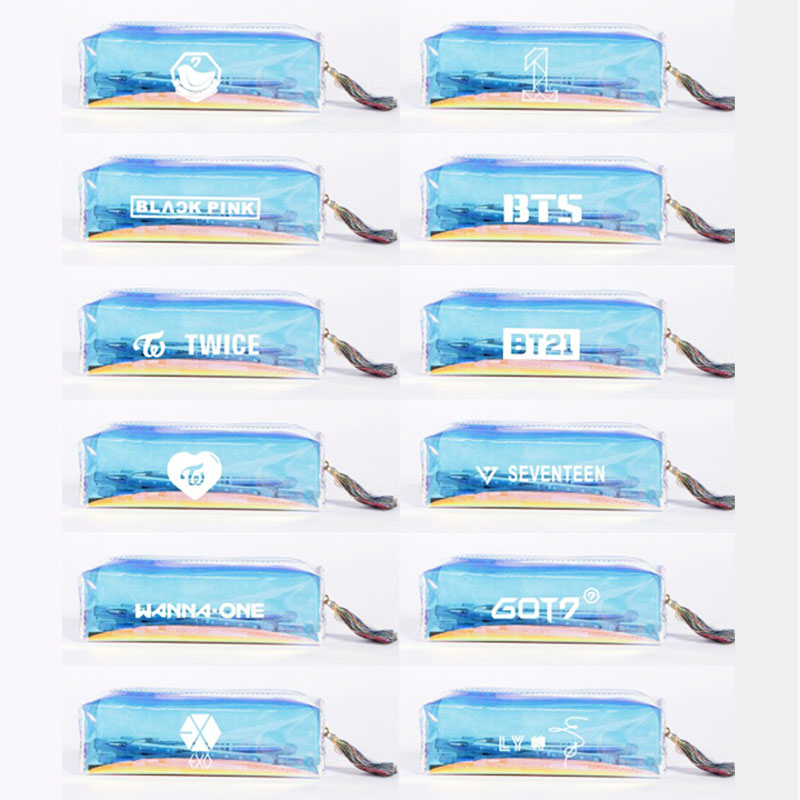 1 Pcs K-POP BTS EXO GOT7 WANNA ONE TWICE KPOP Admission Package Pencil Bags Cosmetic Case Student Stationery Gift youpop kpop blackpink album laser pu bag jewelry admission package new fashion backpack bags sjb618