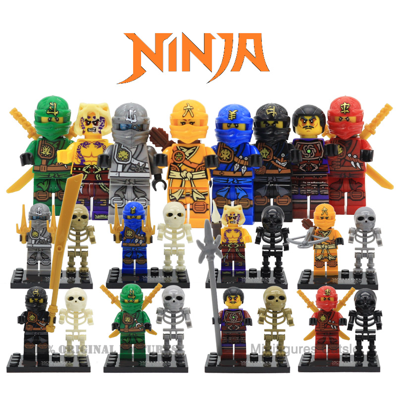 Ninja Action figures Kai Jay Cole Lloyd Zane Skylor Krait Clouse Skeletons Building Block Brick Kids Toys SY282 lepin Compatible 2017 new single ninja movie nadakhan dogshank kai jay cole zane nya lloyd building brick toys x0112 x0118