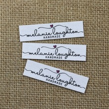 96 pieces Custom logo labels, Name iron on label, Clothing tags, Organic Cotton Labels