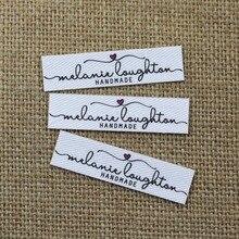 96 stuks Aangepaste logo labels, Naam ijzer op label, Aangepaste Kleding tags, Biologische Katoen Etiketten