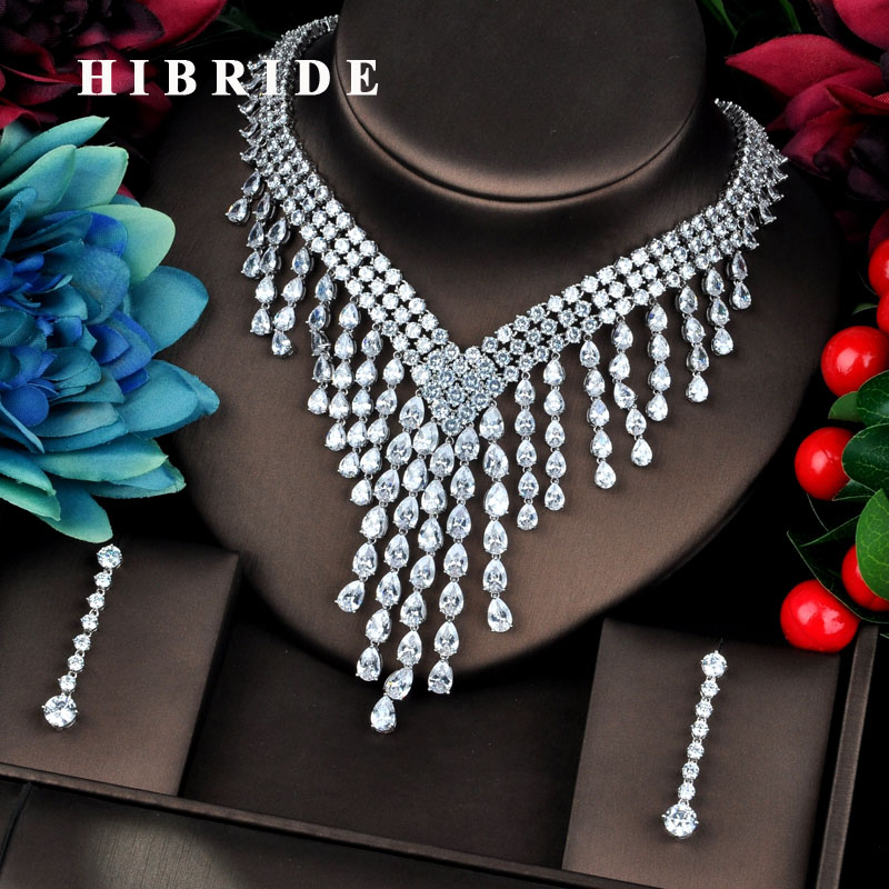 HIBRIDE Luxury Clear Long Tassel Water Drop CZ Big Jewelry Sets For Women Wedding Accessories Fashion