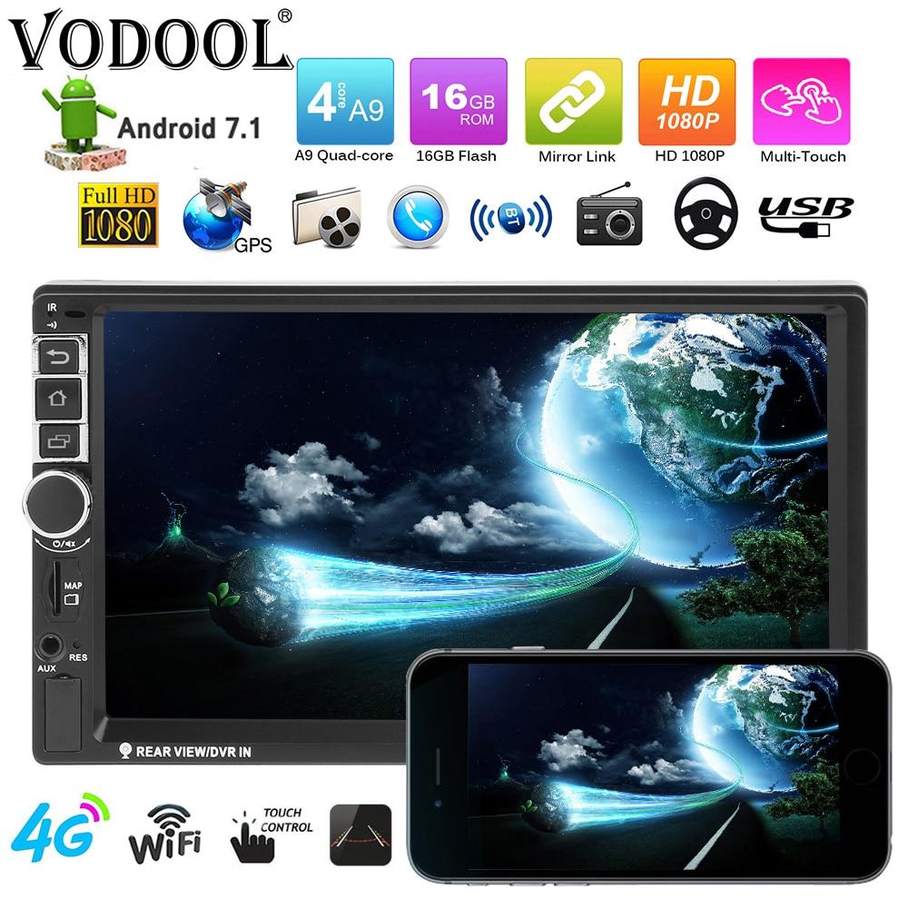 VODOOL 7 pouces écran tactile autoradio 2Din 1080 P HD Android 7.1 Voiture MP5 Lecteur Bluetooth WiFi 4G GPS Navi FM AUX lecteur multimédia usb
