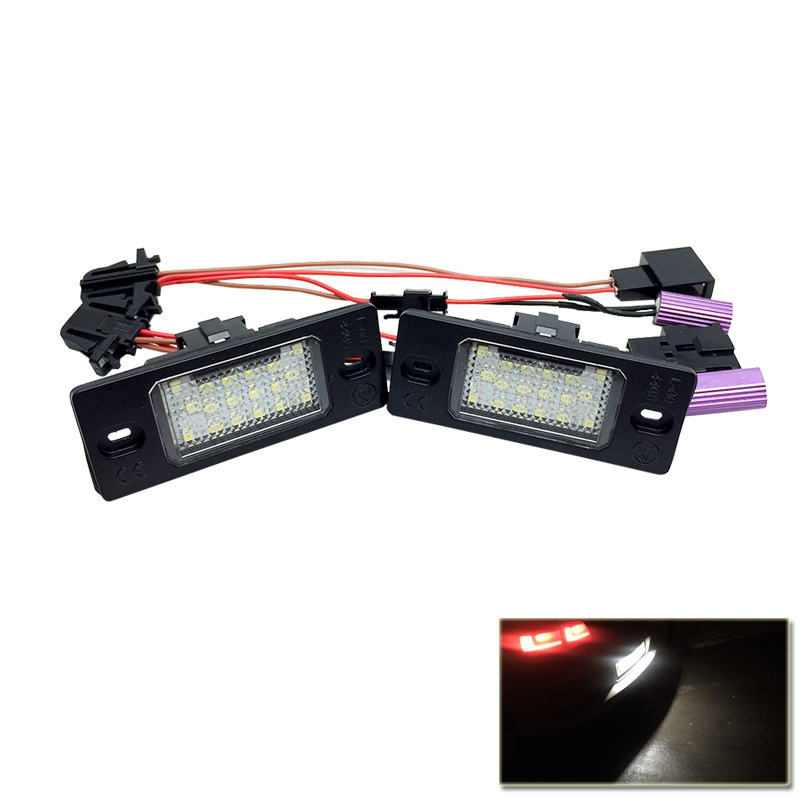 2PCs CAN-bus Error Free White 18SMD Led Number License Plate Lights For VW Touareg Tiguan Glof 5 Passat B5.5 Touring 2pcs 18smd no error led number license plate light lamp oem direct fit for chevrolet cruze all cars 2009 canbus with decoder