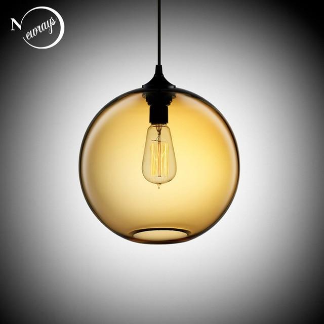 Loft Vintage Industrielle 6 Farbe Glas Ball Anhänger Lichter ...