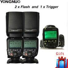 2X YONGNUO YN600EX RT השני 2.4G אלחוטי HSS מאסטר פלאש עבור Canon מצלמה כמו 600EX RT + YN E3 RT TTL פלאש טריגר + מפזר