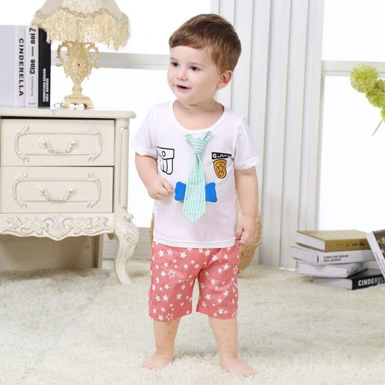 Новорожденных Прекрасный младенец 2 шт. комплект одежды для маленьких мальчиков 100% хлопок для маленьких мальчиков Cloting Лето 2017 г. одежда для ... ...