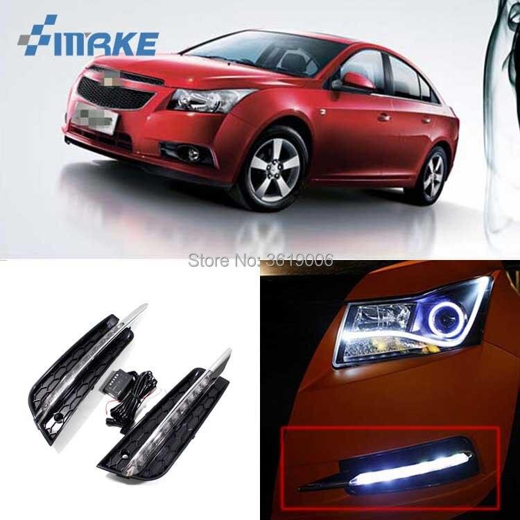 smRKE For Chevrolet Cruze 2009-2014 LED DRL Daytime Running Lights White Driving Light Waterproof Car Styling Light Source