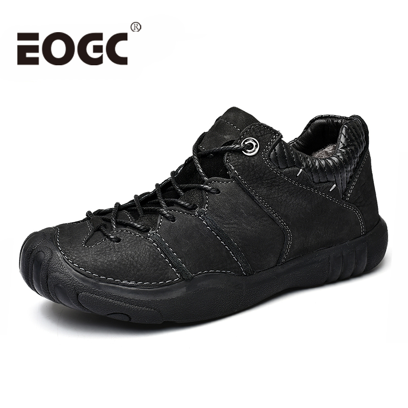 Size 38 46 Natural Cow Leather shoes men Fashion Handmade Men casual shoes Footwear Winter warm