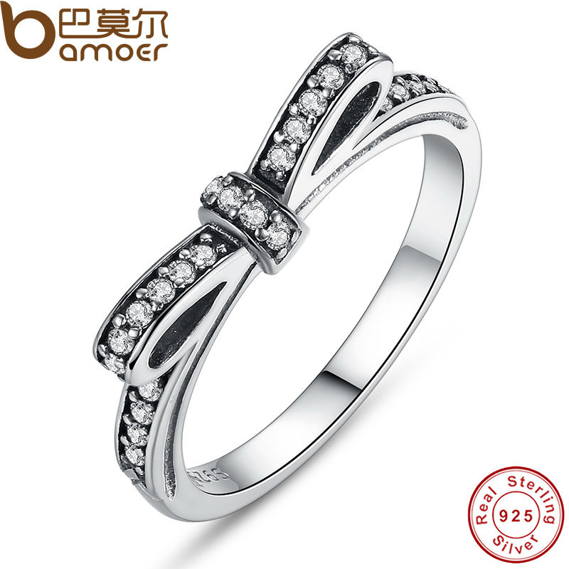 BAMOER Authentic 925 Sterling Silver Bow Knot Shape Ring Micro Pave CZ Original Wedding Jewelry