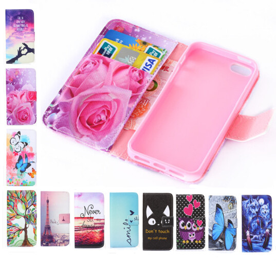 Fashion wallet Phone cover Beautiful Rose Flower Tower pattern full cover Flip Leather Case For Apple iPhone 4S for iPhone 4