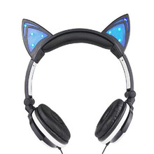 Fidget and Foldable Flashing Glowing cat ear headphones Gaming Headset Earphone with LED light For PC Laptop Mobile Phone