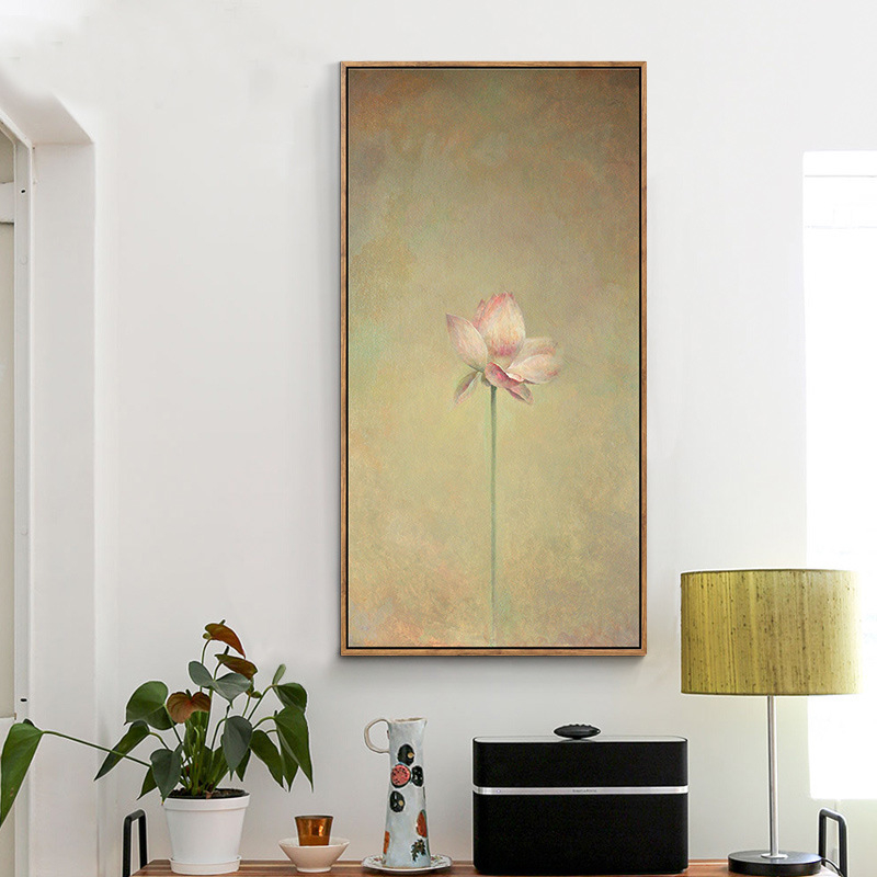Blooming Lotus Canvas Wall Hanging Art Poster Simple Background ...