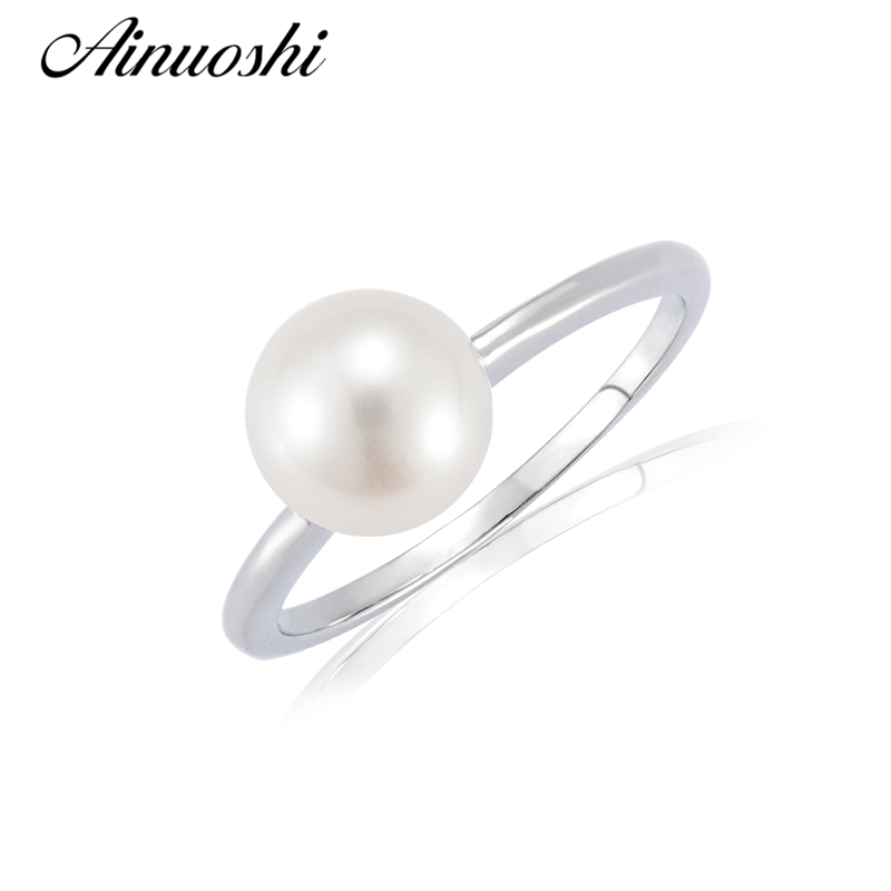 AINUOSHI Trendy 925 Sterling Silver Engagement Ring Natural Fresh Water Pearl Round Pearl Anniversary Wedding Jewelry Lady RingsAINUOSHI Trendy 925 Sterling Silver Engagement Ring Natural Fresh Water Pearl Round Pearl Anniversary Wedding Jewelry Lady Rings