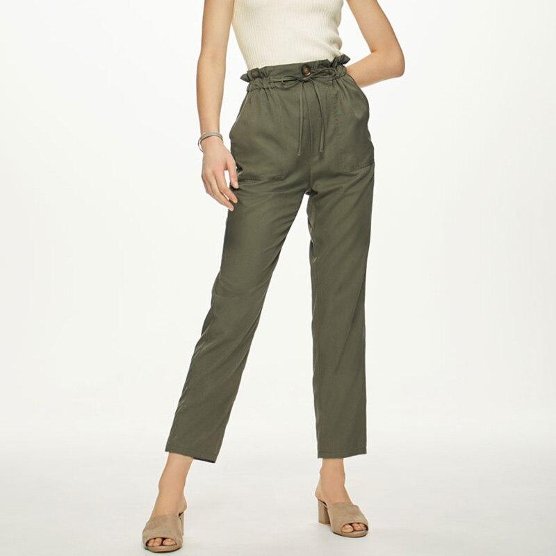 Pantalon été à col étroit ceinture dentelle sac en papier pantalon taille haute pantalon noir pêche beige olive pantalon couleur Pure - 6
