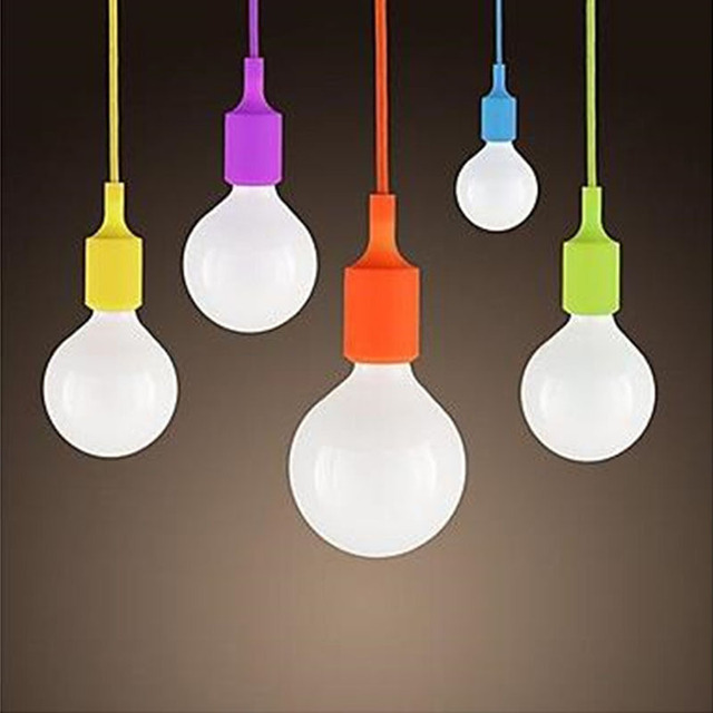Modern E27 Colorful Silicone Lamp Holder 220v Pendant Lights 12 Color 100cm Cord Ceiling Base For Dinning Room