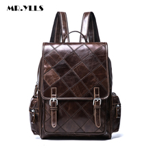 MR.YLLS Luxury Men Genuine Leather Backpack High Capacity Laptop Men Sewing Thread Pattern Bag Luxury Computer Travel Backpack