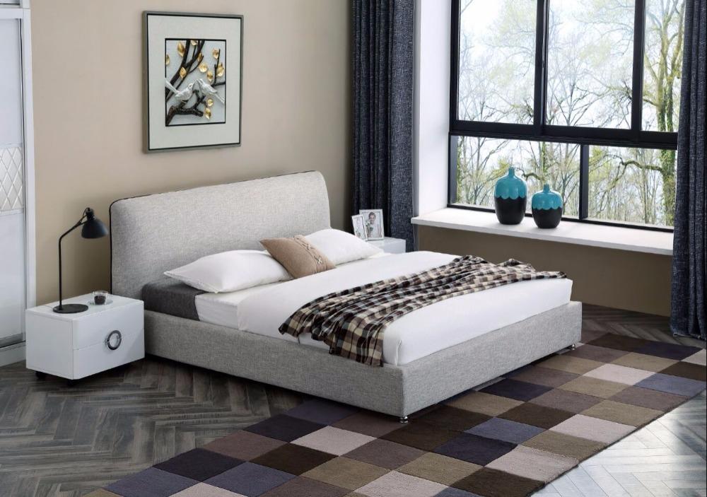 gris simple moderna de dormir de tela suave cama muebles de dormitorio de matrimonio hecho