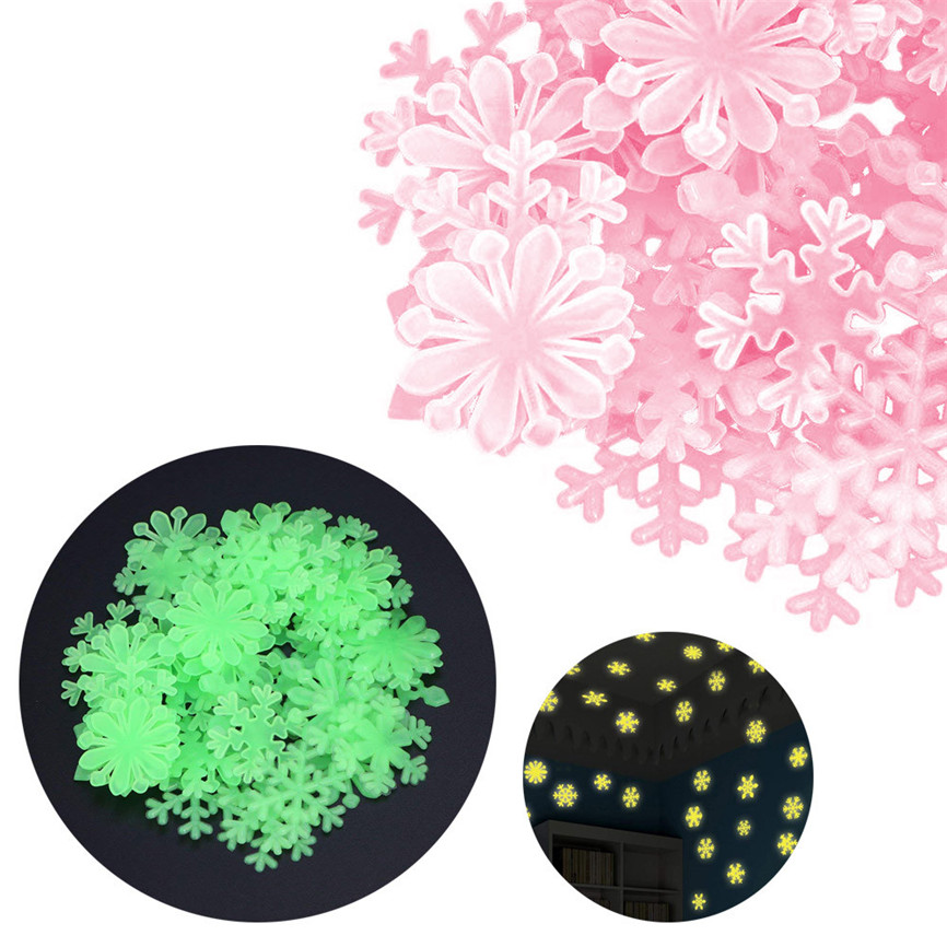 50Pcs Window Decorations Kids Bedroom Fluorescent Glow In The Dark Snowflake Luminous Star Wall Stickers Christmas Gifts Oct#3(China)